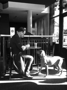 カフェで休憩する男性と男性を見つめる犬
