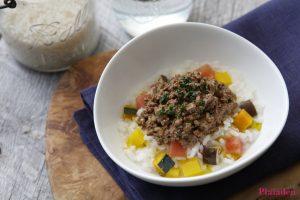 プレイアーデン犬用アレンジレシピ「うさぎ肉と野菜のリゾット風」