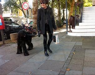 サングラスを掛けた女性と散歩する黒い犬